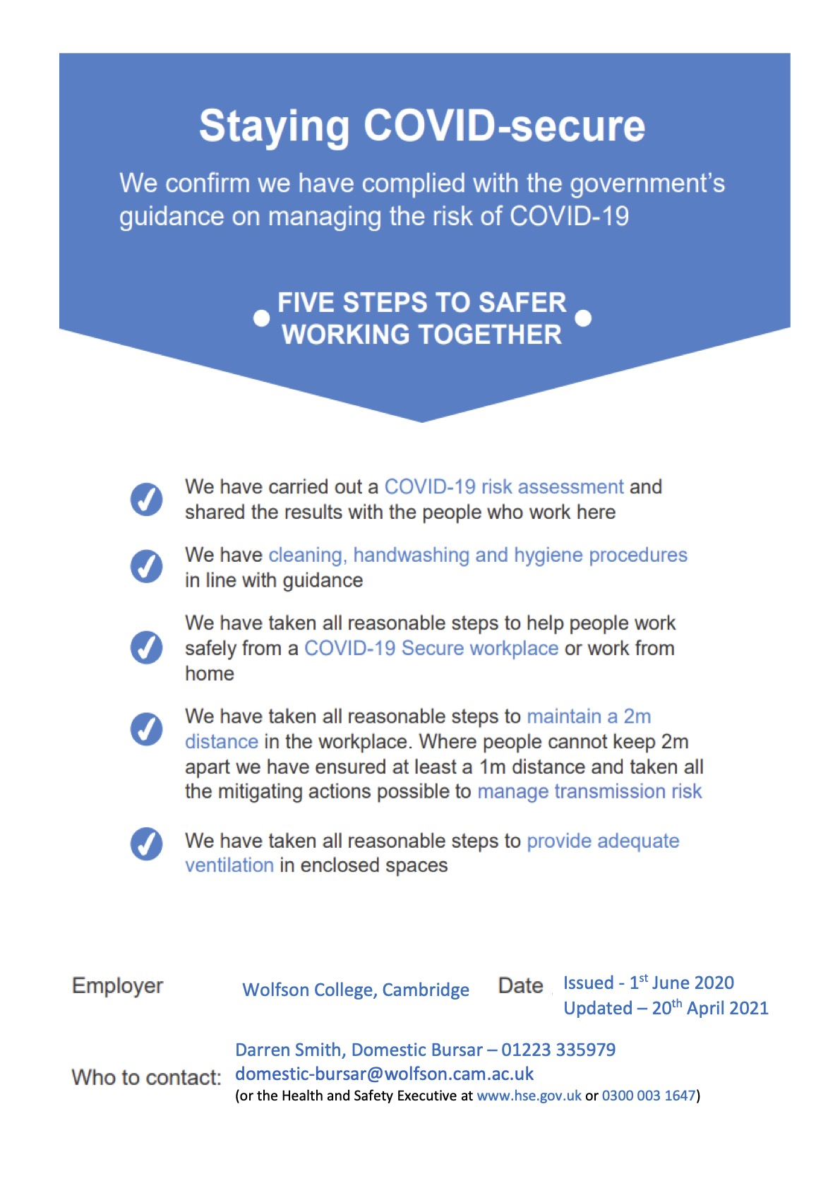 COVID secure poster