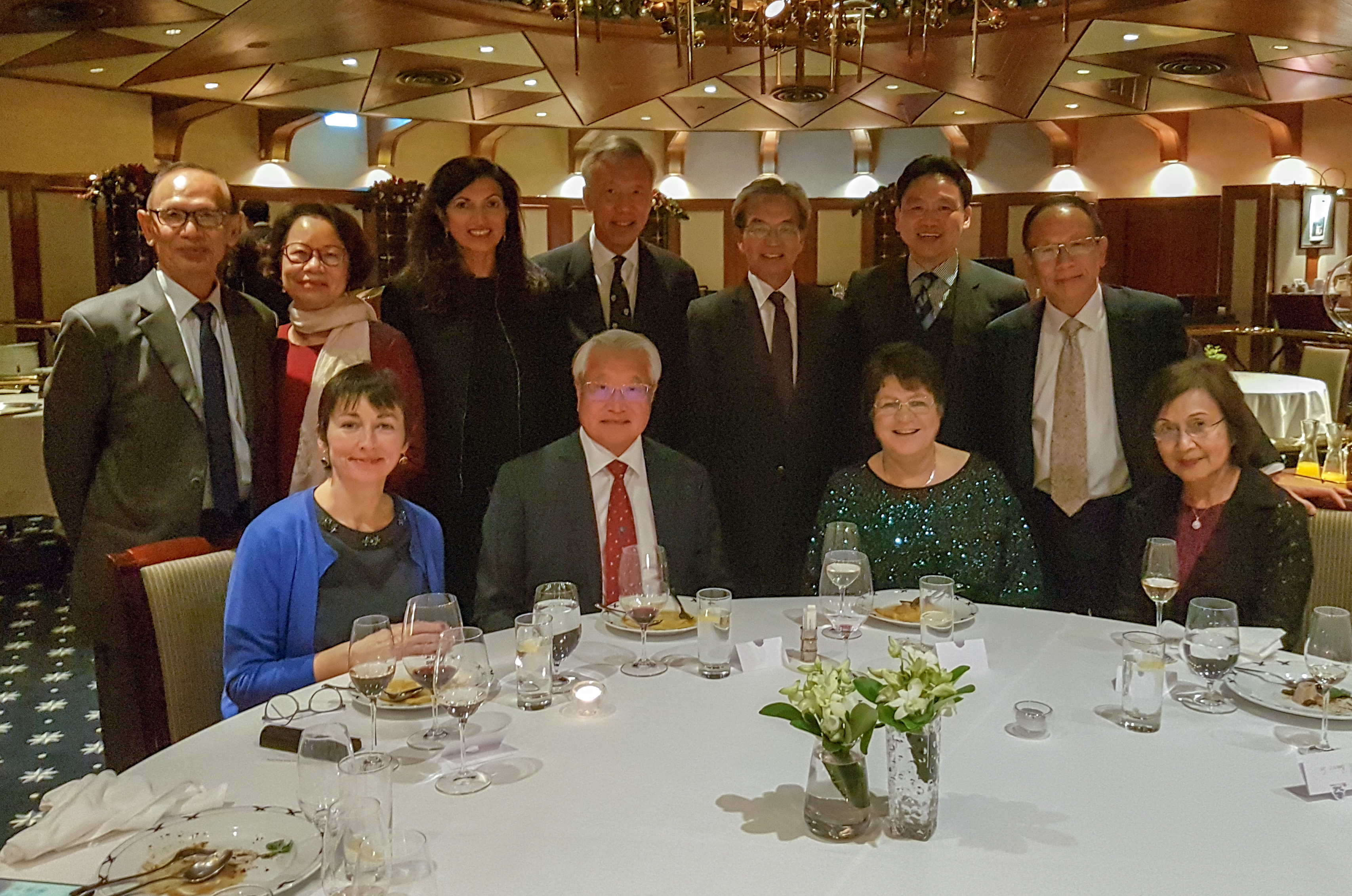 President Jane Clarke at dinner with Gaston Chan