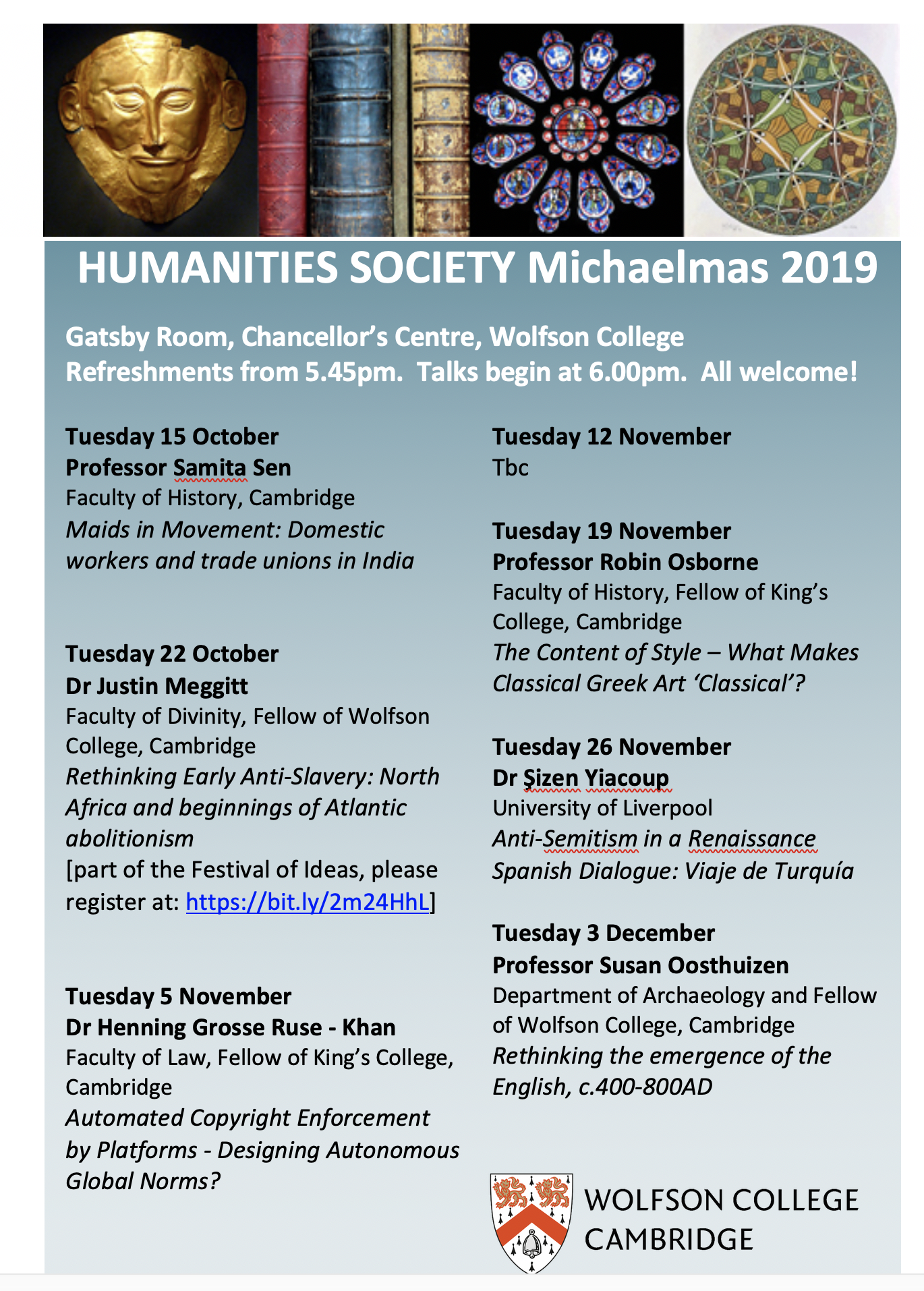 Michaelmas Term Humanities events