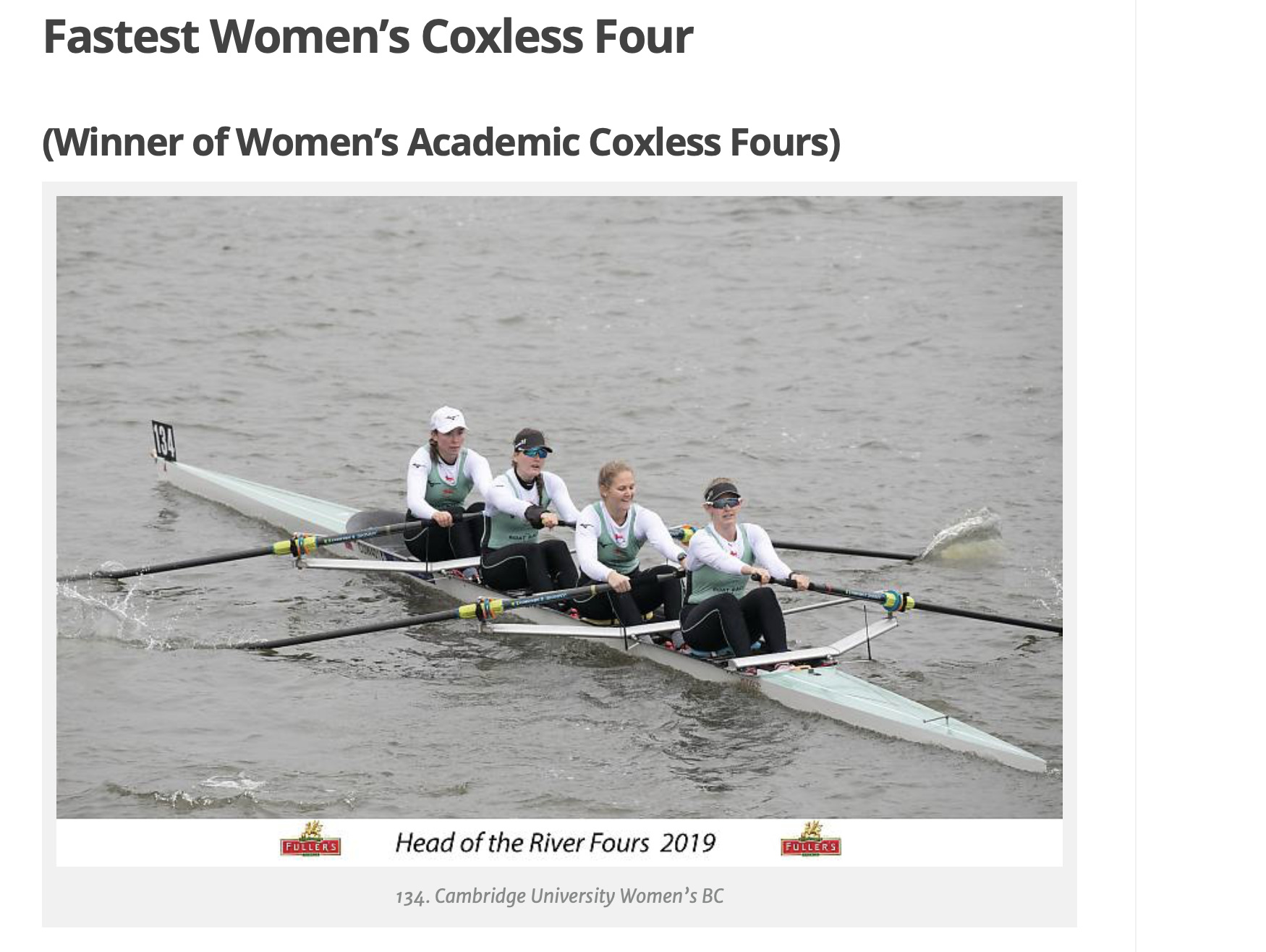 Cambire University women's fours