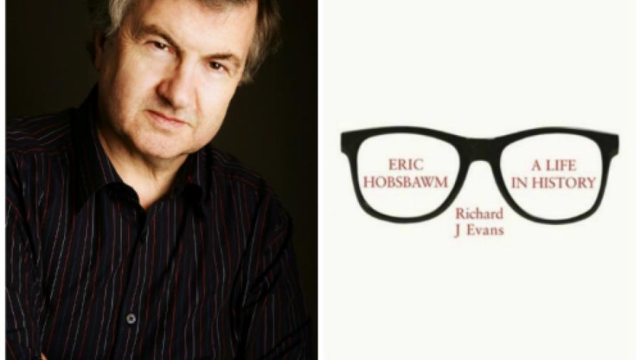 Sir Richard J. Evans and image of book cover for Eric Hobsbawm: A Life in History