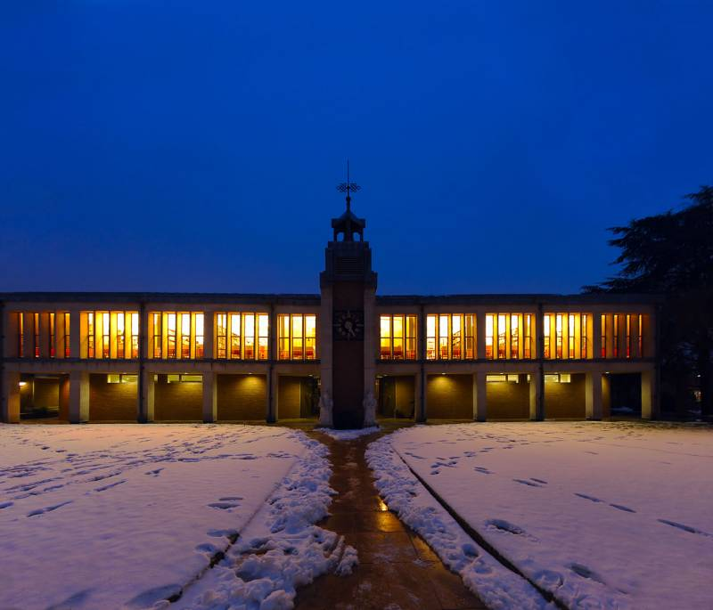 Lee Seng Tee library in the snow at night