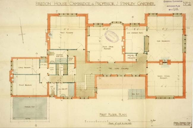 Ground Floor Plan of Bredon House, 1914 Ground Floor Plan of Bredon House, 1914, by Harry Redfern FRIBA (copyright Cambridgeshire County Archives, ref. CB2/SE/3/9/3736)