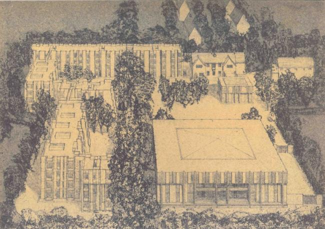Architect's drawing of a proposed building scheme, 1970 Later plans incorporated Bredon House, but had to be adjusted to take account of the City Council's planning policy for Barton Road, and restrictive covenants affecting the density of buildings on the site. (Image with kind permission of Ferrey & Mennim, York)