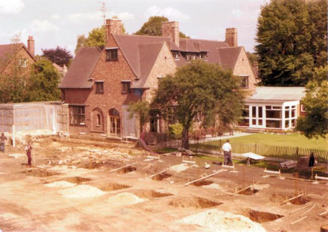 The footings for the Main Building, August 1974 The Wolfson benefaction in 1973 enabled the College to undertake the major development programme that provided the main building and additional residential accommodation.