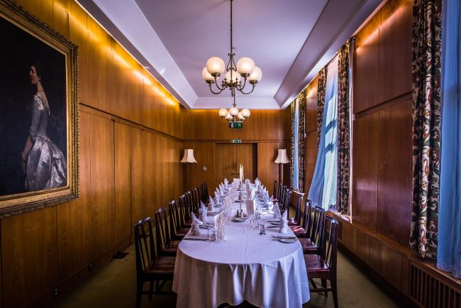 The oak-panelled Council Room is perfect for smaller meetings or private dinners, with a lovely view over West Court. The layout is set in boardroom style, with seating for up to 22 guests.