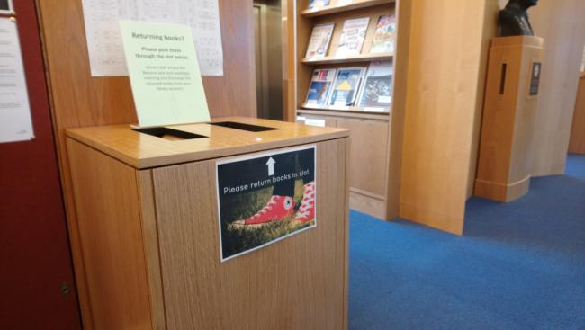 Library drop box in main reading room