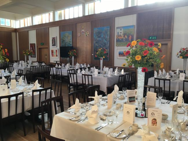 Dining Hall - laid out for 100 people in cabaret style for dinner