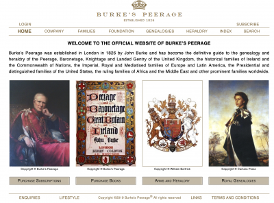 Burke's Peerage homepage