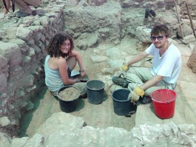 Sarah Spiller and friend at a dig