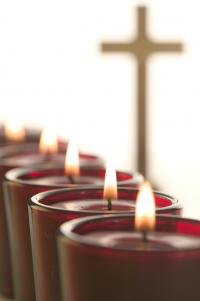Candles with a cross